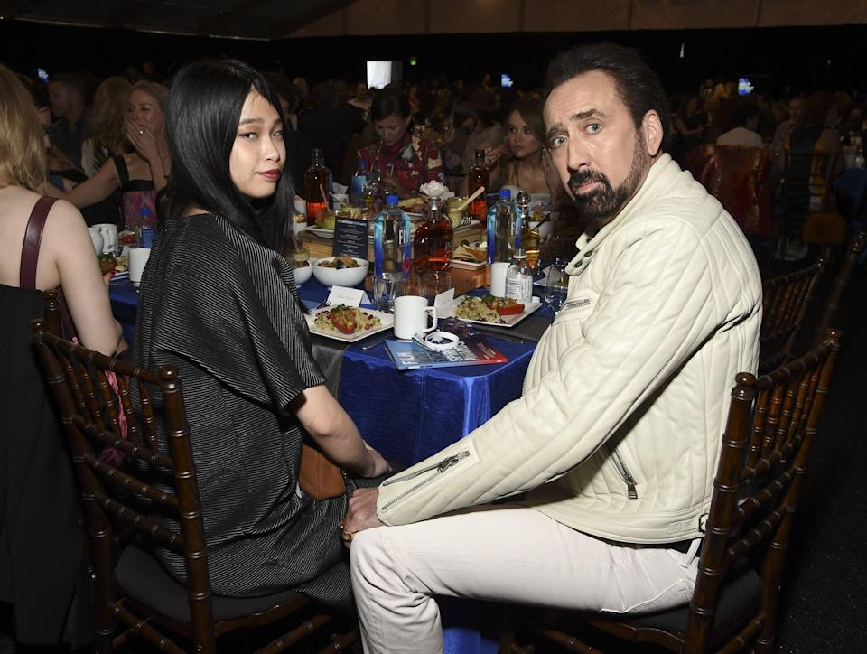 """<p><a href=""""https://people.com/movies/inside-nicolas-cage-and-riko-shibatas-las-vegas-wedding-we-are-very-happy/"""" class=""""link rapid-noclick-resp"""" rel=""""nofollow noopener"""" target=""""_blank"""" data-ylk=""""slk:The couple wed"""">The couple wed</a> in a small <a class=""""link rapid-noclick-resp"""" href=""""https://www.popsugar.com/Wedding"""" rel=""""nofollow noopener"""" target=""""_blank"""" data-ylk=""""slk:wedding"""">wedding</a> at the Wynn Hotel in Las Vegas in February. """"It's true, and we are very happy,"""" Nicolas told <strong>People</strong>. His rep told the publication: """"The date (Feb. 16) was chosen to honor the birthday of the groom's late father. The bride wore a handmade Japanese Bridal Kimono from Kyoto that required three layers."""" </p>"""