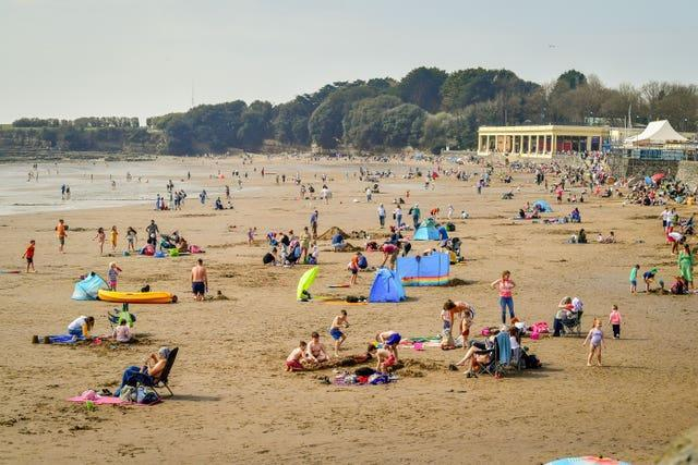 People on the beach at Barry Island, Wales