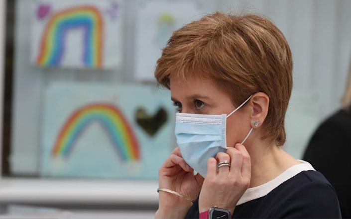 First Minister, Nicola Sturgeon during a visit to the NHS Louisa Jordan at the SEC - WPA Pool/Getty Images