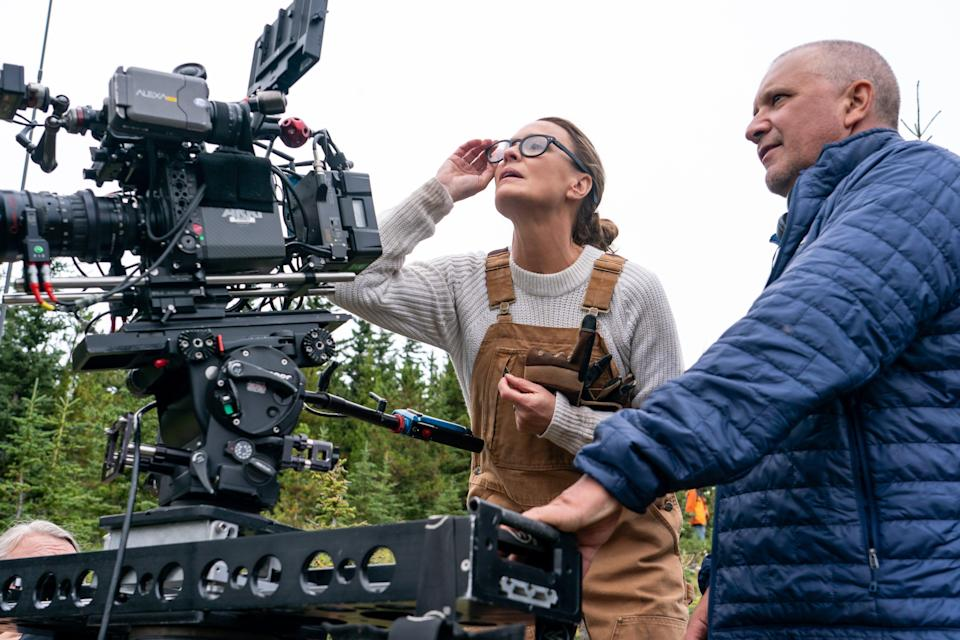 Behind the camera for her new film, Land (Daniel Power / Focus Features)