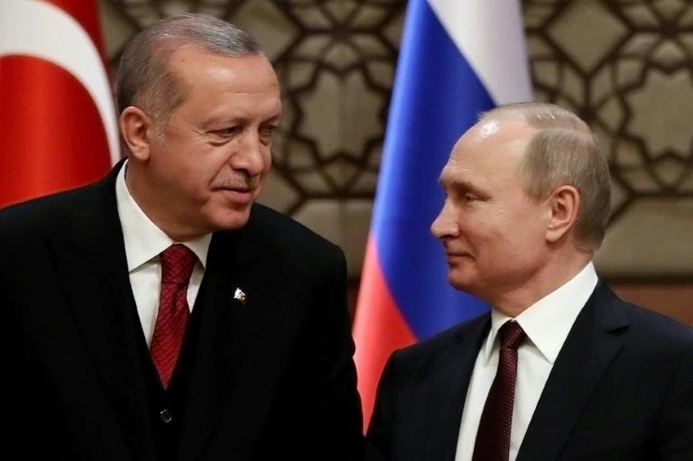 Turkey's President Recep Tayyip Erdogan and Russia's Vladimir Putin at Syria talks in Ankara earlier this year