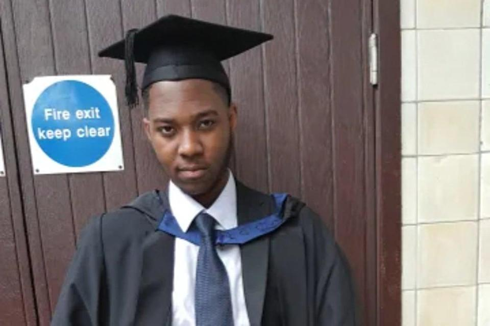 David Gomoh, 24, stagged back to his home address after he was fatally stabbed at least nine times (MET)
