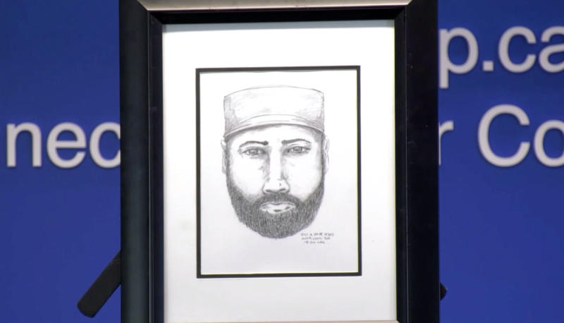 Police released a composite of a man with a beard who they would like to speak to in relation to the deaths. Source: CTV