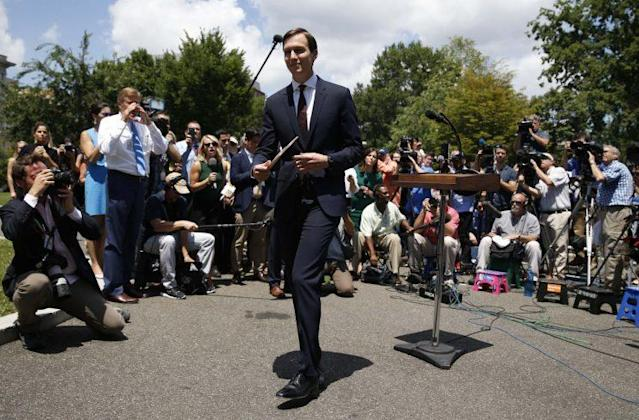 Jared Kushner departs after delivering a statement outside the White House on Monday. (Photo: Joshua Roberts/Reuters)
