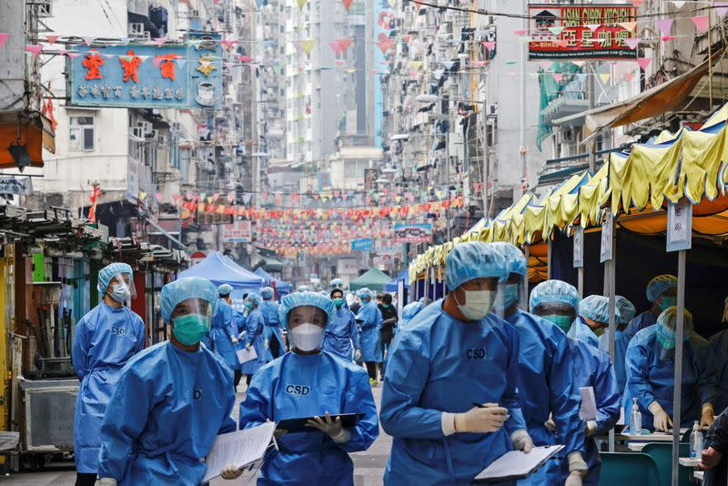 FILE PHOTO: Outbreak of the coronavirus disease (COVID-19), in Hong Kong