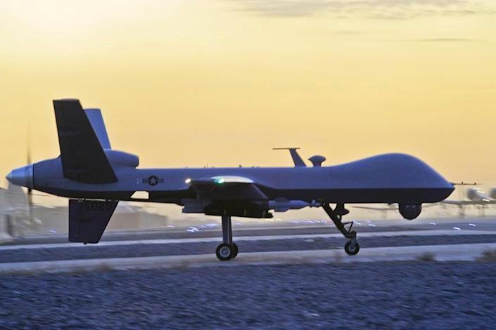 <p>A US MQ-9 Reaper drone taxis at Kandahar Airfield, Afghanistan, in December 2009. </p> (U.S. Air Force photo/Tech. Sgt. Efren Lopez)