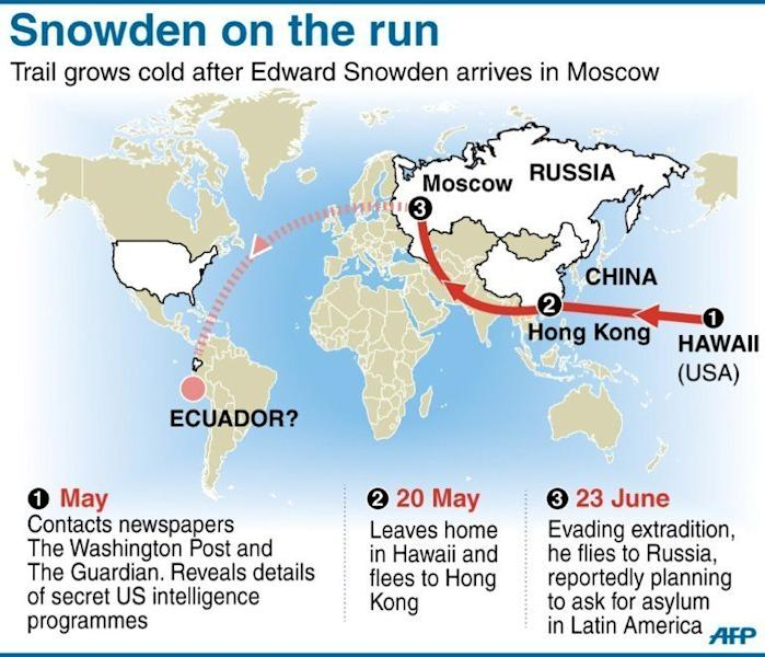 Map showing progress of US whistleblower Edward Snowden. The US intelligence leaker has spent a fourth day at a Moscow airport with his onward travel plans still a mystery after Russian President Vladimir Putin rejected calls for his extradition to the United States