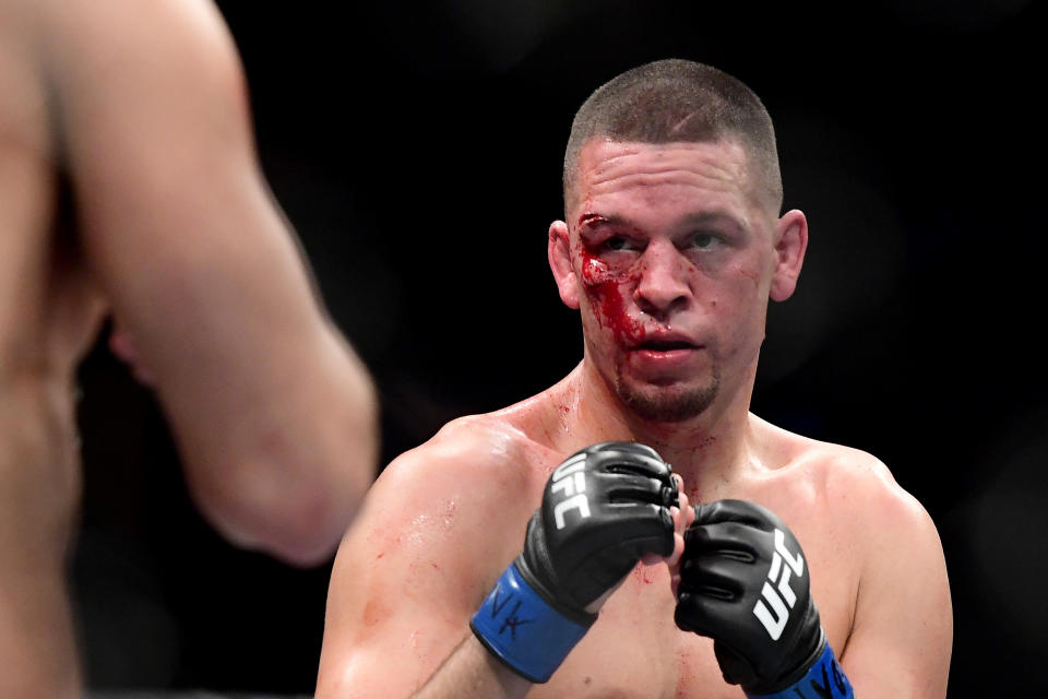 NEW YORK, NEW YORK - NOVEMBER 02: Nate Diaz of the United States fights against Jorge Masvidal (not pictured) of the United States in the Welterweight