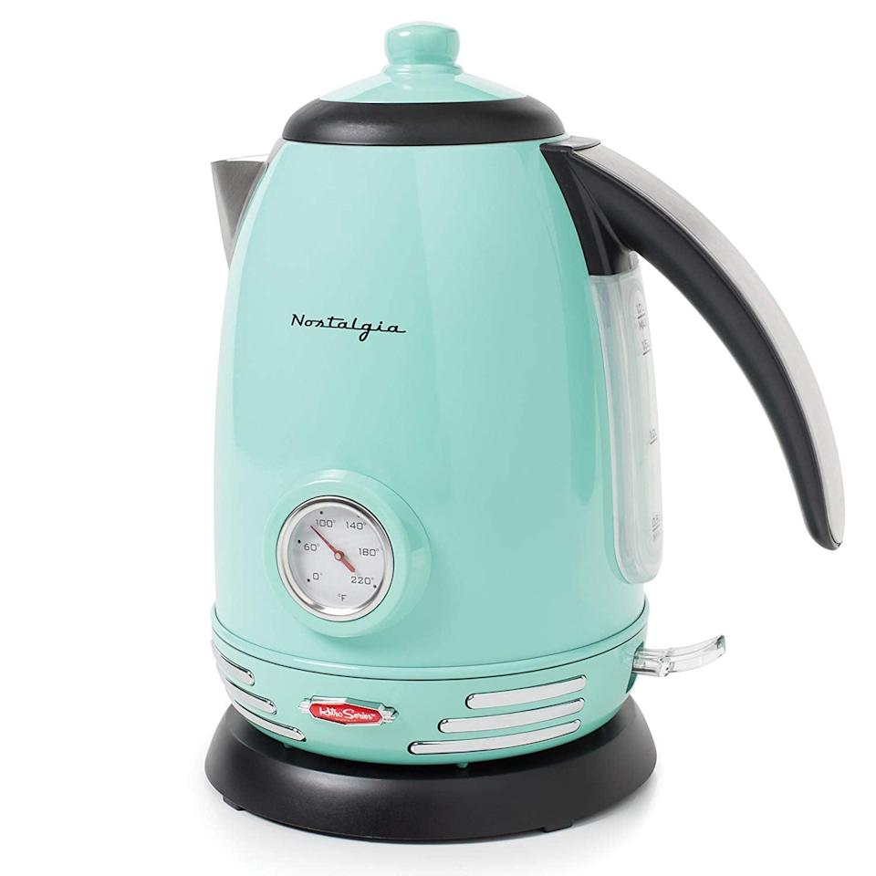 <p>Make tea or coffee with this <span>Nostalgia Retro Stainless Steel Electric Water Kettle</span> ($51).</p>