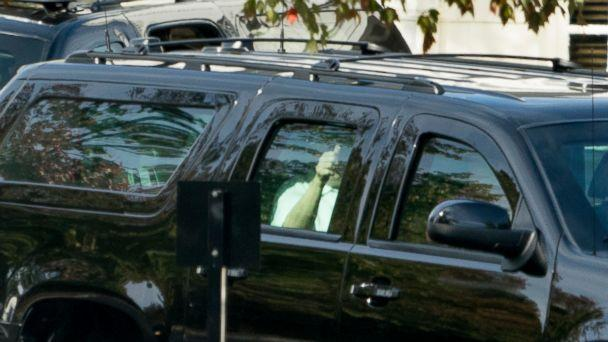 PHOTO: President Donald Trump gives a thumbs up as he departs Trump National Golf Club, Saturday, Oct. 21, 2017, in Sterling, Va. (AP Photo/Andrew Harnik)