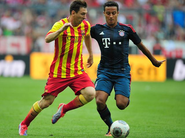 Thiago in action against his former team, Barcelona: Getty
