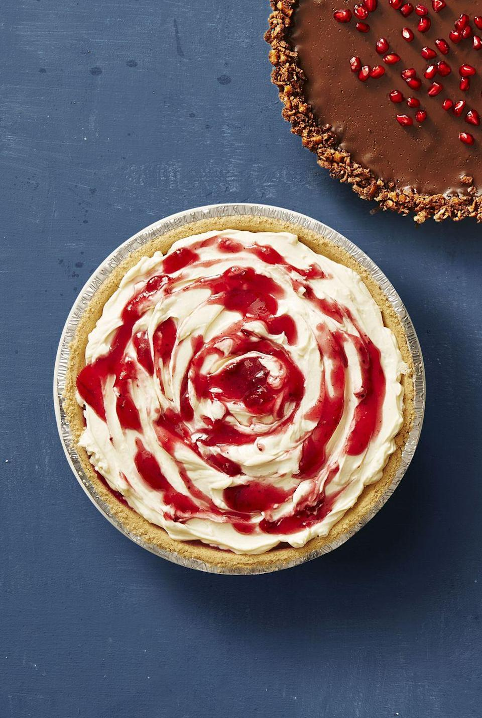 "<p><em>Psst! </em>This easy cheesecake requires zero oven time, so you don't have to deal with the water bath or worry about cracking.</p><p><em><a href=""https://www.goodhousekeeping.com/food-recipes/a41239/no-bake-cranberry-cheesecake-recipe/"" rel=""nofollow noopener"" target=""_blank"" data-ylk=""slk:Get the recipe for No-Bake Cranberry Cheesecake »"" class=""link rapid-noclick-resp"">Get the recipe for No-Bake Cranberry Cheesecake »</a></em></p><p><strong>RELATED: </strong><a href=""https://www.goodhousekeeping.com/food-recipes/cooking/g5106/how-to-make-cheesecake/"" rel=""nofollow noopener"" target=""_blank"" data-ylk=""slk:How to Make Cheesecake From Scratch"" class=""link rapid-noclick-resp"">How to Make Cheesecake From Scratch</a></p>"