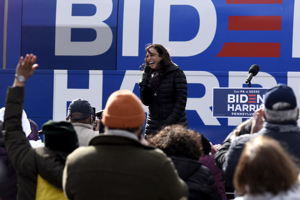 Democratic vice presidential candidate Sen. Kamala Harris, D-Calif., speaks during a drive-in get out the vote rally in the parking lot of the UFCW local 1776, Monday, Nov. 2, 2020, in Pittson, Pa. (AP Photo/Michael Perez)