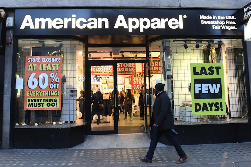 A general view of an American Apparel store, as the US fashion chain are closing 12 UK stores leaving 147 employees redundant. (Photo by Victoria Jones/PA Images via Getty Images)