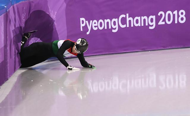 <p>Shaoang Liu of Hungary crashes during the Men's 1000m Short Track Speed Skating qualifying on day four of the PyeongChang 2018 Winter Olympic Games at Gangneung Ice Arena on February 13, 2018 in Gangneung, South Korea. (Photo by Richard Heathcote/Getty Images) </p>