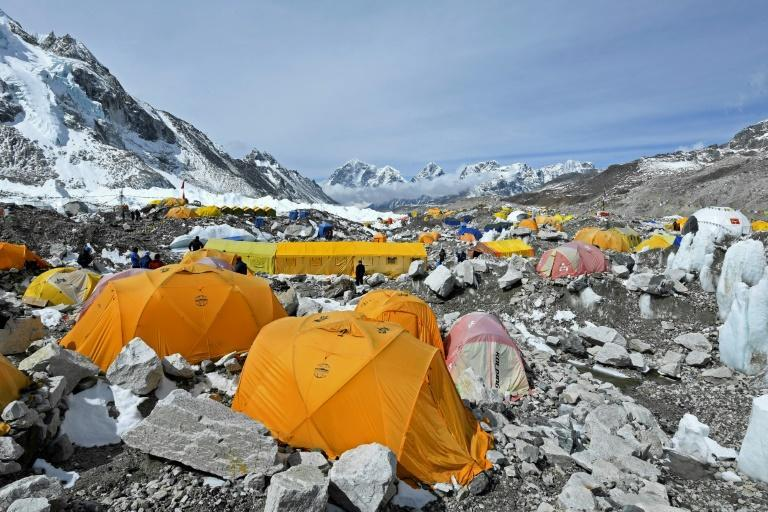 Expedition tents at Everest base camp. Dozens of suspected Covid cases have been flown out of the area but authorities in Nepal have yet to acknowledge a single case at the mountain