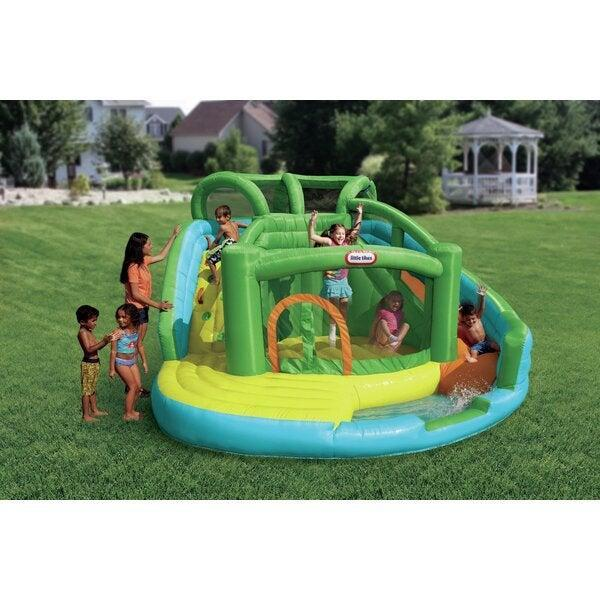 "<br> <br> <strong>Little Tikes</strong> Bounce House with Water Slide & Air Blower, $, available at <a href=""https://go.skimresources.com/?id=30283X879131&url=https%3A%2F%2Fwww.wayfair.com%2Foutdoor%2Fpdp%2Flittle-tikes-134-x-129-bounce-house-with-water-slide-and-air-blower-jd1642.html"" rel=""nofollow noopener"" target=""_blank"" data-ylk=""slk:Wayfair"" class=""link rapid-noclick-resp"">Wayfair</a>"