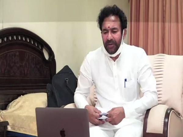 Union Minister G Kishan Reddy takes part in the meeting with Telangana BJP leaders via video conferencing. Photo?ANI