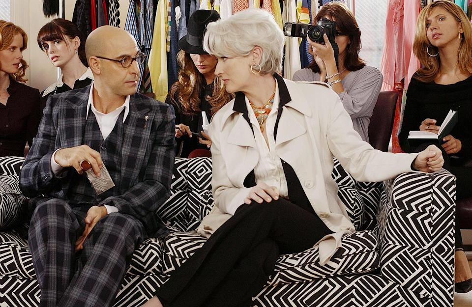 <p>Tucci again starred opposite Streep as Miranda Priestley's right-hand man in the comedy, and showed the ropes to Anne Hathaway's Andy — including advising her what to wear (and what not to wear). </p>