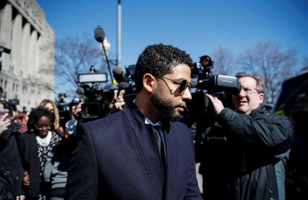 Jussie Smollett leaves court after charges against him were dropped by state prosecutors in Chicago, March 26, 2019. (Kamil Krzaczynski/Kamil Krzaczynski/Reuters)