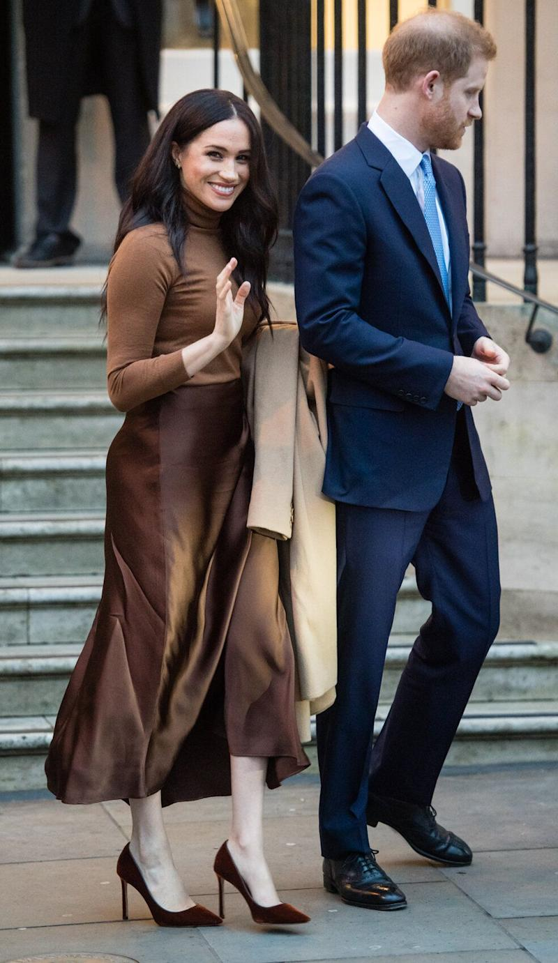 All neutral everything on the Duchess of Sussex, pictured here with Prince Harry leaving Canada House in London on Jan. 7. (Samir Hussein via Getty Images)