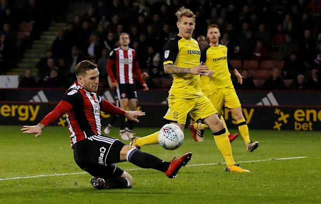 "Soccer Football - Championship - Sheffield United vs Burton Albion - Bramall Lane, Sheffield, Britain - March 13, 2018 Sheffield United's Billy Sharp misses a chance to score Action Images/Ed Sykes EDITORIAL USE ONLY. No use with unauthorized audio, video, data, fixture lists, club/league logos or ""live"" services. Online in-match use limited to 75 images, no video emulation. No use in betting, games or single club/league/player publications. Please contact your account representative for further details."