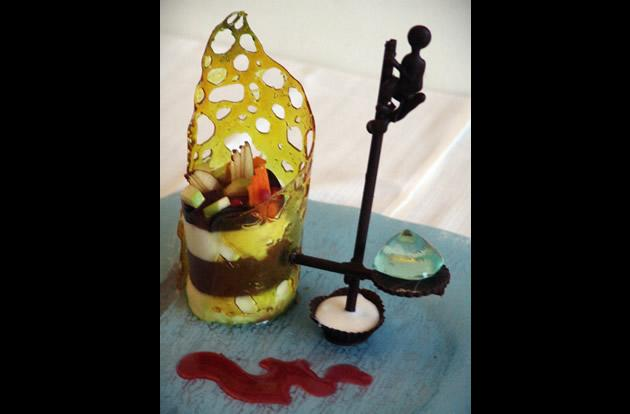 """The Fortress hotel in Sri Lankasis charging US$14,500 (10,269) for what it calls the world's most expensive dessert, called """"Fisherman Indulgence"""". It is a fruit-infused confection complete with a chocolate sculpture and a gigantic gemstone."""