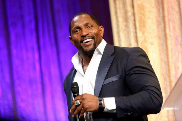 PHOTO: Ray Lewis speaks onstage during the 19th Annual Harold and Carole Pump Foundation Gala at The Beverly Hilton Hotel on August 09, 2019 in Beverly Hills, California. (Tiffany Rose/Getty Images)
