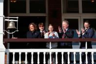The family of Captain Sir Tom Moore ring the bell at Lord's cricket ground, in London