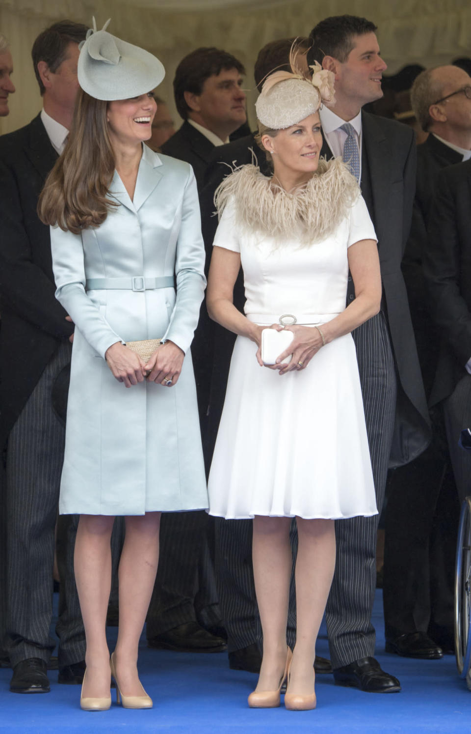 <p>Kate opted for an icy blue coat dress by Christopher Kane for the Order of the Garter service. Her matching hat was by Lock & Co, her nude shoes by Jimmy Choo and the clutch by retailer L.K. Bennett.</p><p><i>[Photo: PA]</i></p>
