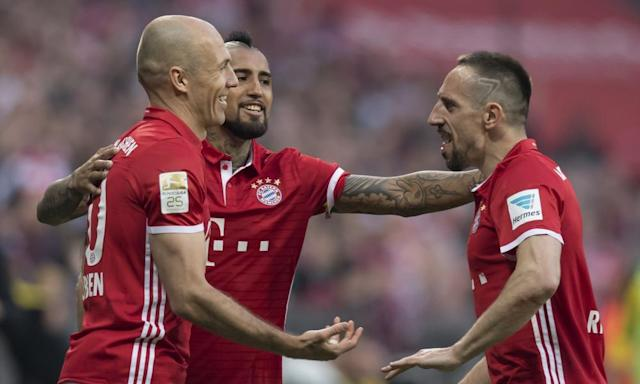 "<span class=""element-image__caption"">Arjen Robben, left, celebrates scoring Bayern Munich's third goal against Borussia Dortmund with Franck Ribéry, right, four years after the pair won the Champions League with the Bavarians.</span> <span class=""element-image__credit"">Photograph: Sven Hoppe/AP</span>"