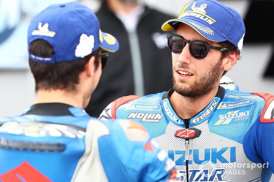 "Joan Mir, Team Suzuki MotoGP, Alex Rins, Team Suzuki MotoGP<span class=""copyright"">Gold and Goose / Motorsport Images</span>"