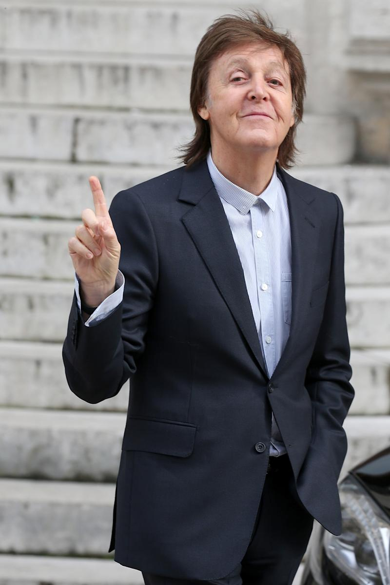 Paul McCartney Gives His Daughters Collection A Thumbs Up In Paris