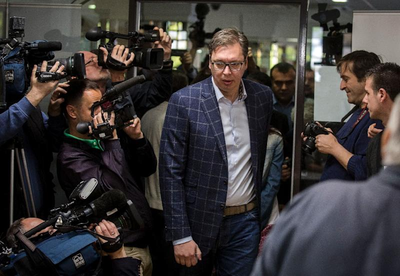 Serbian Prime Minister Aleksandar Vucic won 55 percent of the vote in April 2 presidential election