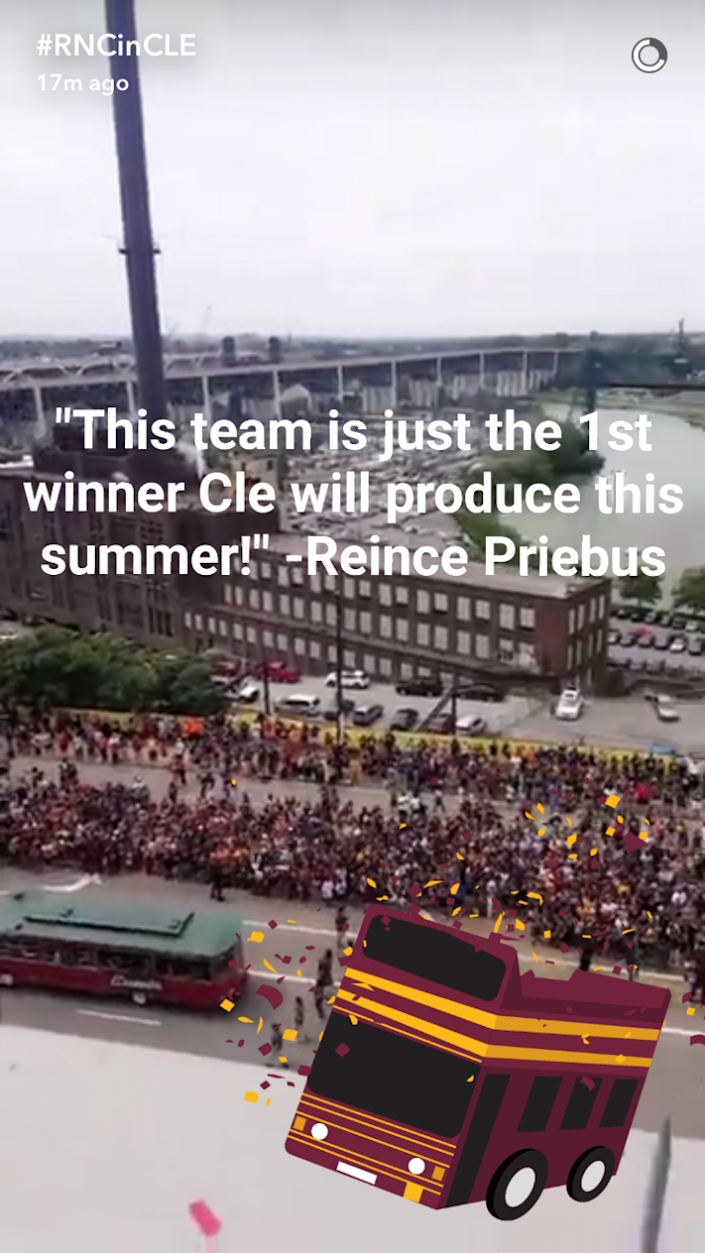 The Republican National Convention launched its official Snapchat account with a video from the Cleveland Cavaliers NBA Championship parade on Wednesday, June 22, 2016. (Photo: Screenshot via GOPConvention16 on Snapchat)