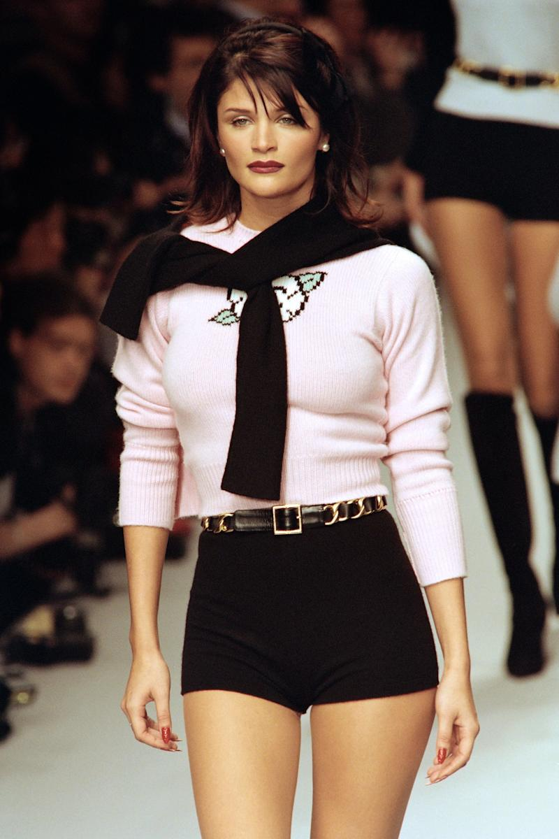 Helena Christensen in a look from Chanel's Fall 1996 Ready-to-Wear collection.