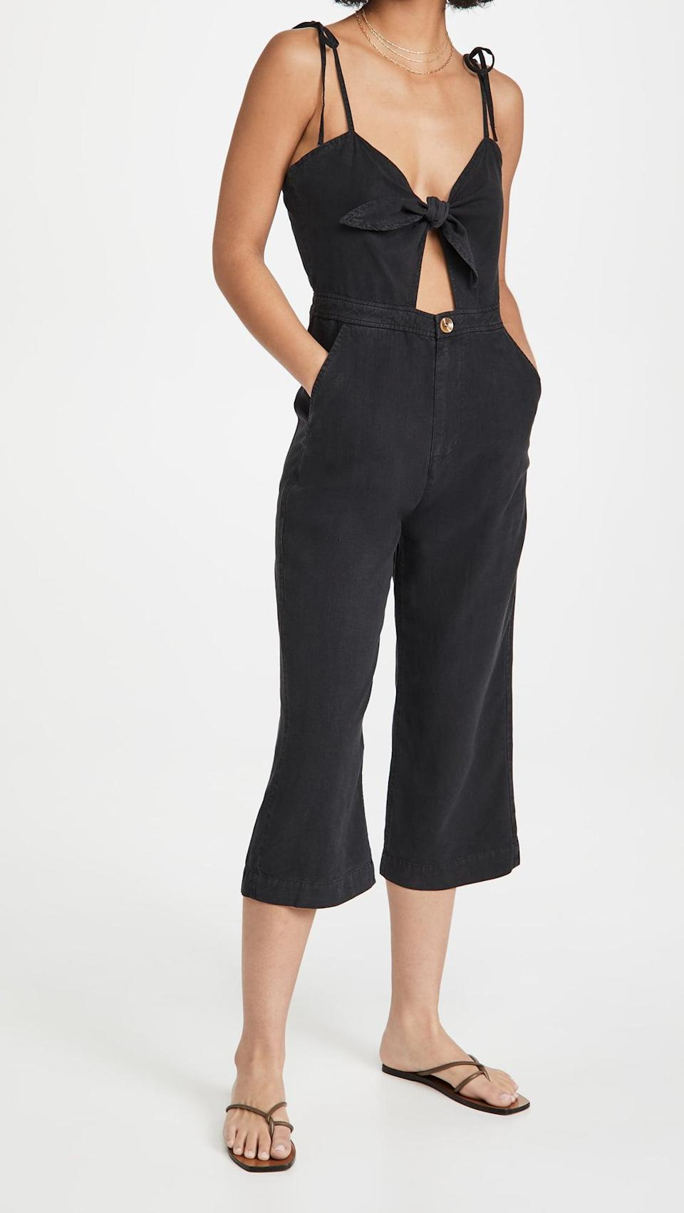 <p>We love the <span>DL1961 Hepburn High Rise Wide Leg Jumpsuit</span> ($239). The tie-top and cutout feel sexy, but the pant bottoms give it a cool and casual feel. </p>