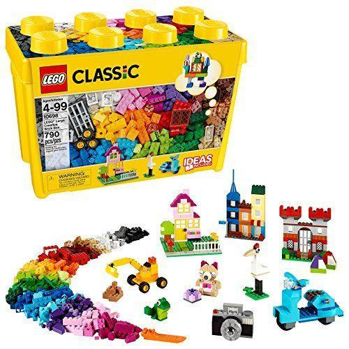 """<p><strong>LEGO</strong></p><p>amazon.com</p><p><strong>$43.99</strong></p><p><a href=""""https://www.amazon.com/dp/B00NHQF6MG?tag=syn-yahoo-20&ascsubtag=%5Bartid%7C10055.g.29352000%5Bsrc%7Cyahoo-us"""" rel=""""nofollow noopener"""" target=""""_blank"""" data-ylk=""""slk:Shop Now"""" class=""""link rapid-noclick-resp"""">Shop Now</a></p><p>For 4-year-olds, this large classic creative kit serves as a great starter set for little hands with big imaginations. The set <strong>comes with more than 790 pieces</strong> — including 33 different colored bricks, eight types of windows and doors, two green baseplates and six toy tires — so she can build anything she can think of. Unfinished creations and loose pieces can easily be stored away in the box until next play session. <em>Ages 4+</em><br></p>"""