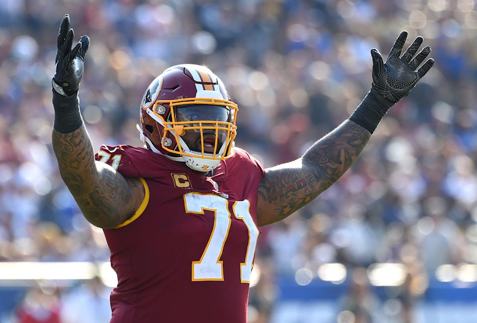 Sep 17, 2017; Los Angeles, CA, USA; Washington Redskins offensive tackle Trent Williams (71) after throwing what turned out to be the game winning touchdown in the game against the Los Angeles Rams at the Los Angeles Memorial Coliseum. Mandatory Credit: Jayne Kamin-Oncea-USA TODAY Sports