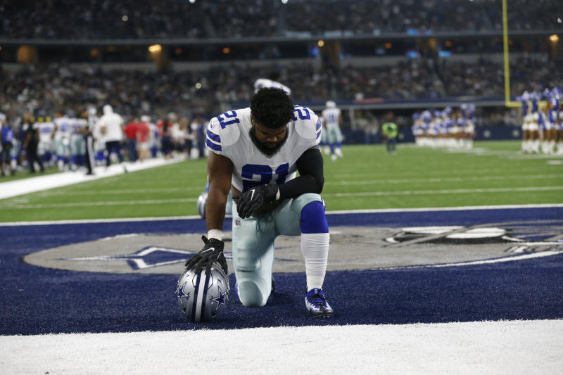 Ezekiel Elliott is awaiting word from an arbitrator on whether his suspension is upheld, overruled or reduced. (AP)