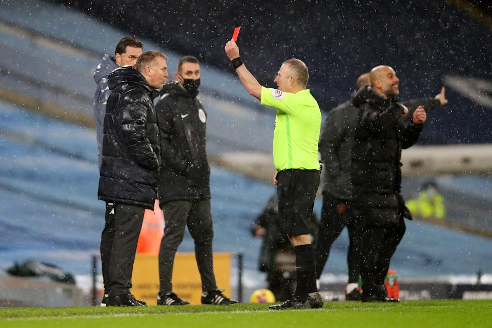 Aston Villa manager Dean Smith was sent off against Manchester City (Getty Images)