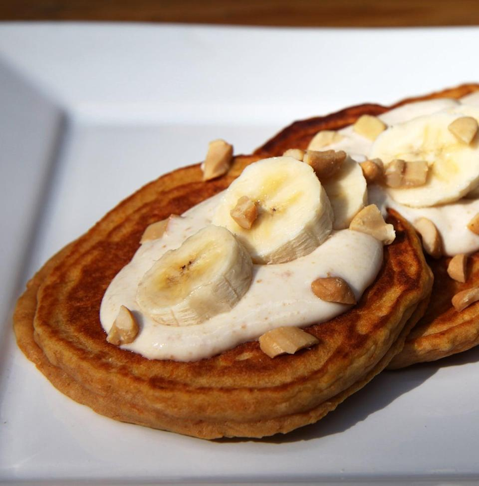 """<p>Make pancakes moist and naturally sweet by adding Trader Joe's frozen Mashed Sweet Potatoes to <a href=""""https://www.popsugar.com/fitness/Whole-Wheat-Pancakes-Made-Sweet-Potato-31570129"""" class=""""link rapid-noclick-resp"""" rel=""""nofollow noopener"""" target=""""_blank"""" data-ylk=""""slk:pancake batter"""">pancake batter</a>.</p>"""