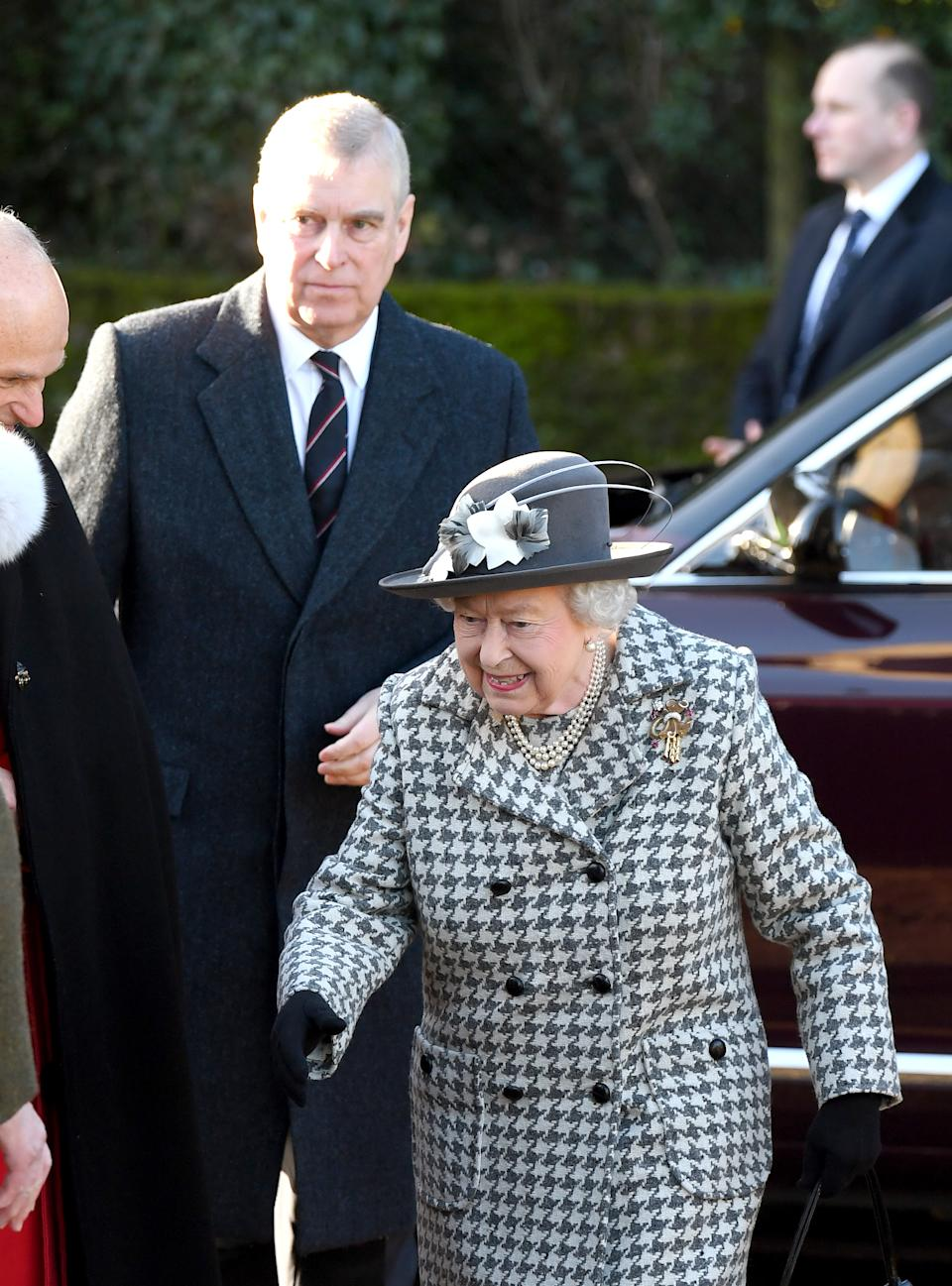 Queen Elizabeth II and Prince Andrew, Duke of York attend church at St Mary the Virgin church at Hillington in Sandringham on January 19, 2020 in King's Lynn, England