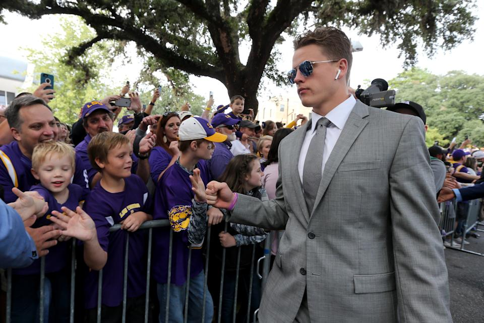 LSU Tigers quarterback Joe Burrow (9) greets fans before their game against the Florida Gators at Tiger Stadium. (USA Today)