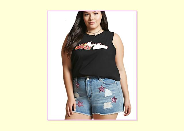 "<p>$23, <a href=""http://www.forever21.com/Product/Product.aspx?BR=plus&Category=plus_size-bottom-shorts&ProductID=2000322406&VariantID"" rel=""nofollow noopener"" target=""_blank"" data-ylk=""slk:Forever 21"" class=""link rapid-noclick-resp"">Forever 21 </a> </p>"