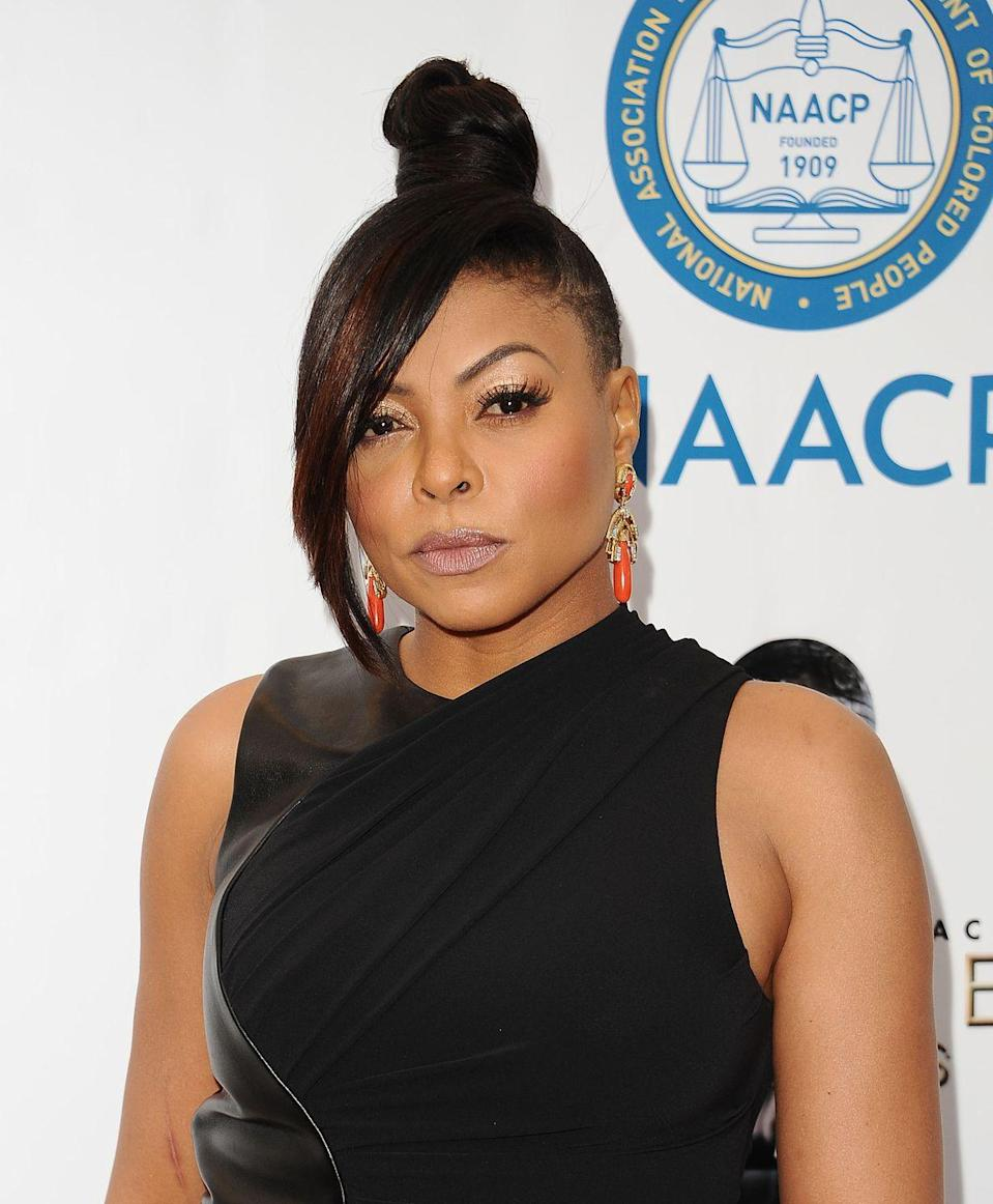 """<p>""""Fake it till you make it"""" even applies to bangs. <em>Empire</em> star Taraji P. Henson added a dramatic swoop to her tight topknot for extra volume. </p>"""