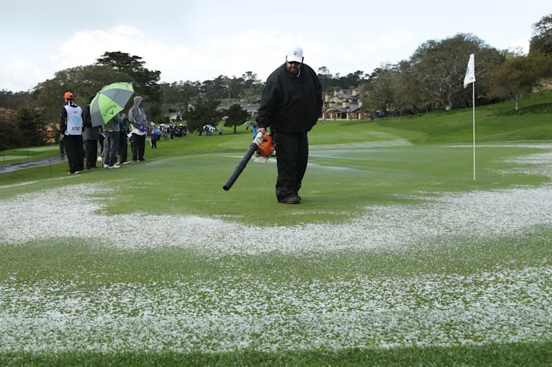 Mickelson leads at Pebble Beach as Monday finish awaits