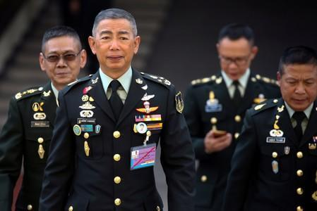 Thailand's Royal Army Chief General Apirat Kongsompong arrives before an interview with members of foreign media at the Thai Army headquarters in Bangkok