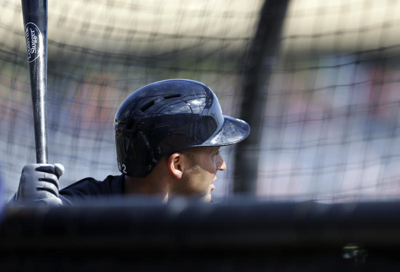 New York Yankees shortstop Derek Jeter takes batting practice before a spring training baseball game in Clearwater, Fla., Tuesday, March 19, 2013. Jeter was pulled from the lineup. (AP Photo/Kathy Willens)