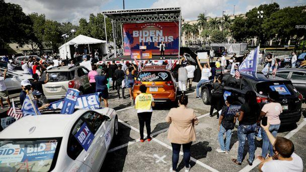 PHOTO: Democratic vice presidential nominee Senator Kamala Harris speaks during a drive-in campaign rally at Florida International University South Campus in Miami, Oct. 31, 2020. (Marco Bello/Reuters)